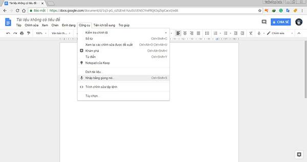 Sử dụng google Docs để nhập liệu văn bản bằng giọng nói cho máy tính