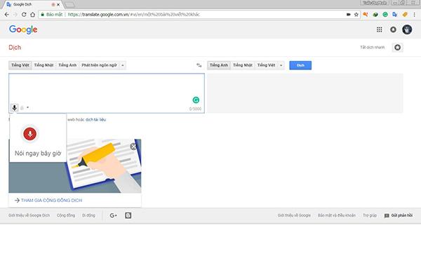 Cách 2: nhập văn bản bằng giọng nói bằng google dịch