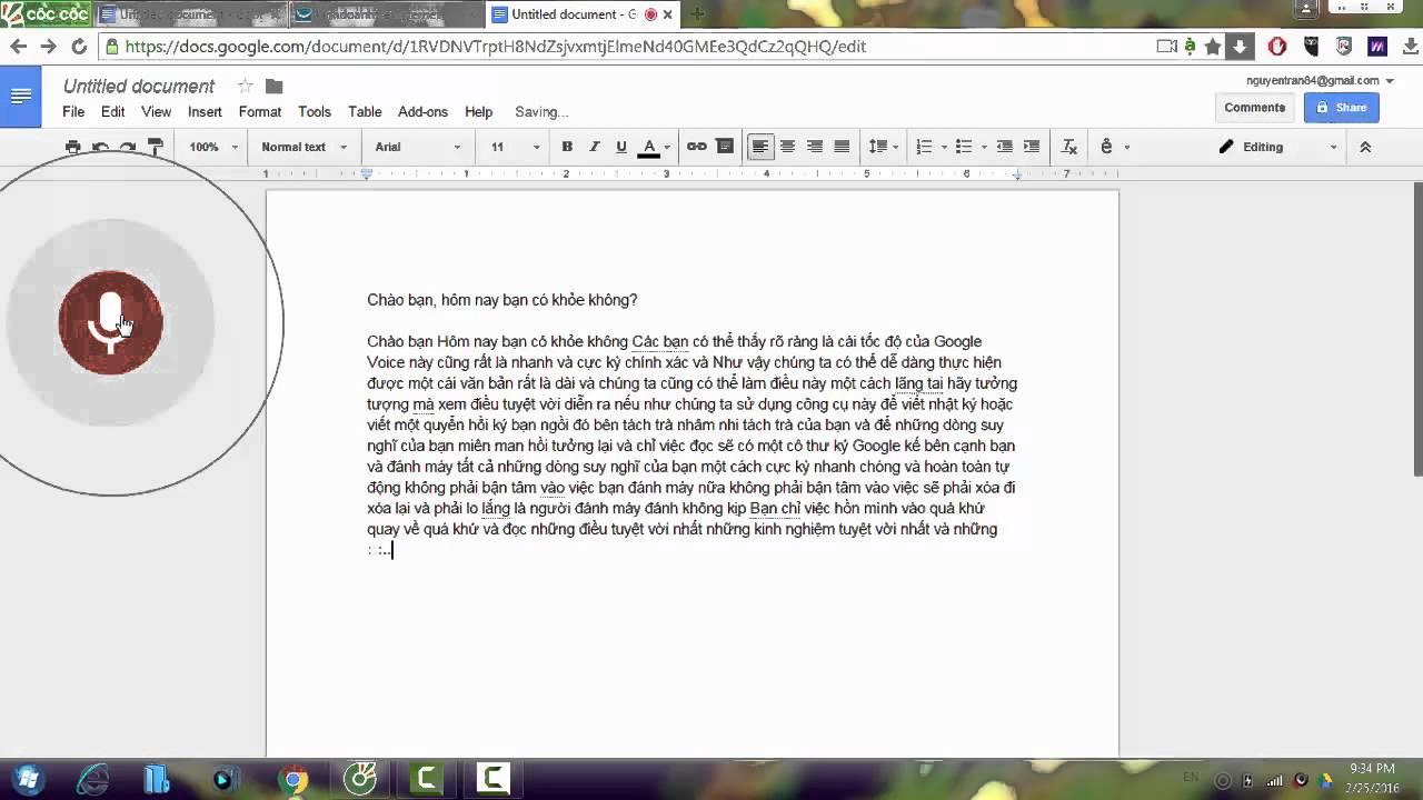 Chuyển đổi giọng nói thành văn bản trên Google docs